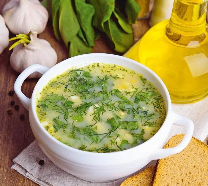Пшеничный суп со шпинатом